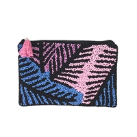 From St Xavier Palm Print Beaded Mini Purse