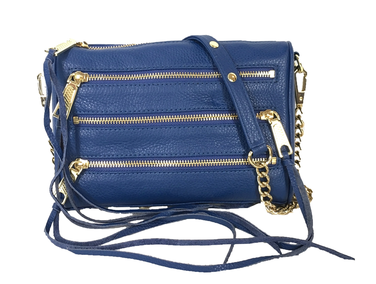4928b311a69 Rebecca Minkoff Mini 5 Zip Rocker Leather Crossbody Bag, Navy