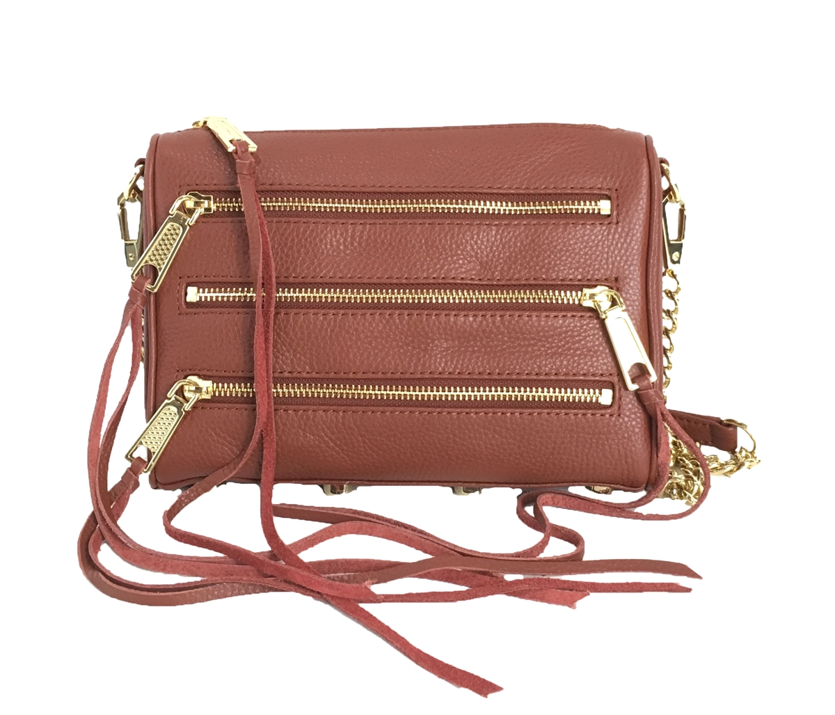 fd2ba697e51 Rebecca Minkoff Mini 5 Zip Rocker Leather Crossbody Bag, Whiskey