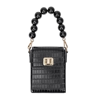 Melie Bianco Carly Bead Top Handle Croco Embossed Vegan Leather Phone Crossbody Bag