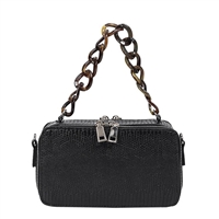 Melie Bianco Demi Snake Embossed Vegan Leather Acrylic Link Top Handle Crossbody Bag