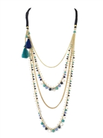 Namakol Long Multi Layer Beaded Tassel Necklace