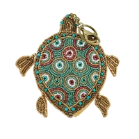 Mary Frances Sea Turtle Beaded Card Case Coin Purse/FOB