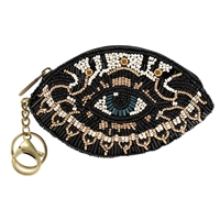 Mary Frances Hamsa Protective Eye Zip Coin Purse