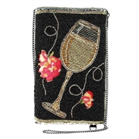 Mary Frances Wine Not White Wine Beaded Phone Crossbody