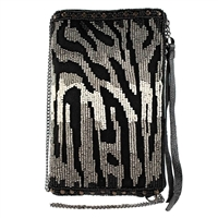 Mary Frances Zebra Beaded Phone Crossbody
