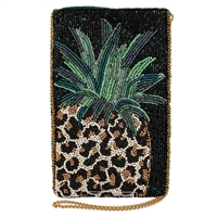 Mary Frances Fruit Gone Wild Pineapple Beaded Phone Crossbody