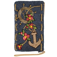 Mary Frances Nautical Anchor Beaded Phone Crossbody