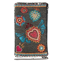 Mary Frances Flaming Hearts Beaded Phone Crossbody