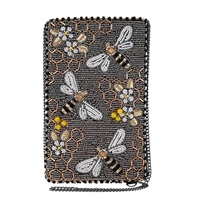 Mary Frances Bee Awesome Honey Bee Hive Beaded Phone Crossbody