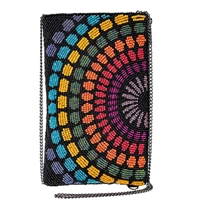 Mary Frances Color Fusion Rainbow Beaded Phone Crossbody,