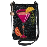 Mary Frances Take A Sip Pink Cocktail Beaded Phone Crossbody,