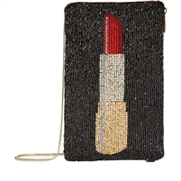 Mary Frances Touch Up Lipstick Beaded Phone Crossbody