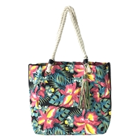 Tropical Floral Print Large Market Tote Beach Bag