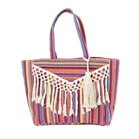 Striped Tassel Beach Bag Packable Large Tote
