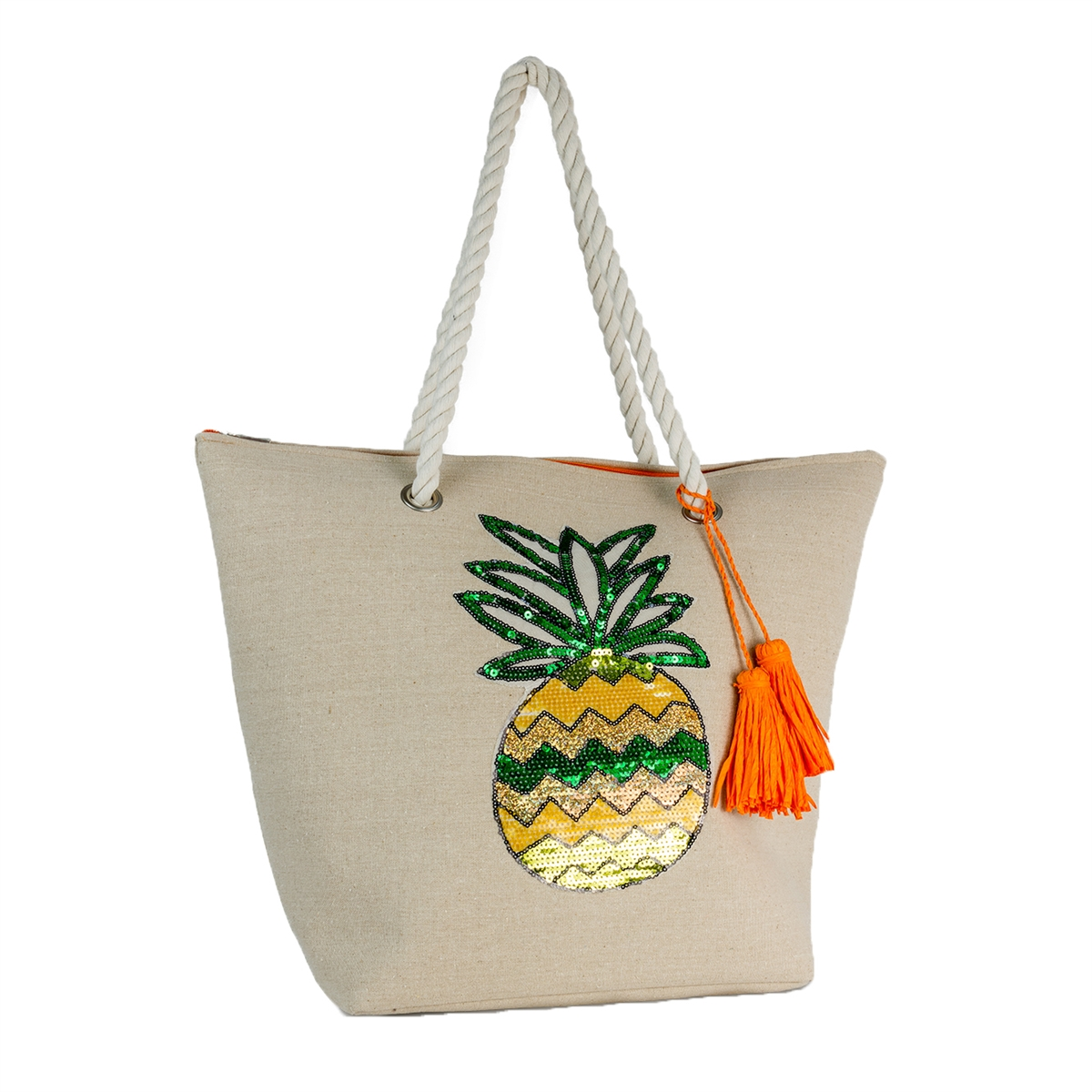 25b58e0af5 Magid Sequin Pineapple Oversized Tote Beach Bag, Natural