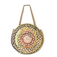 Magid Jute Woven Oversized Circle Tote Beach Bag