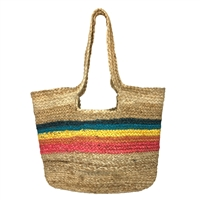 Magid Rainbow Stripes Jute Woven Tote Beach Bag