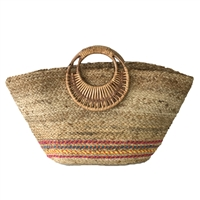 Magid Saona Striped Jute Market Tote Beach Bag