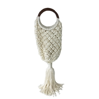Magid Crochet Open Weave Tote Wood Ring Handle