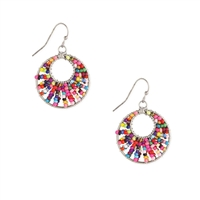 Colorful Beaded Round Drop Earrings