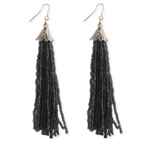 Long Beaded Tassel Drop Earrings