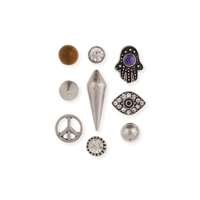Zad Jewelry Peace Trilogy 9 Mismatch Single Stud Earrings