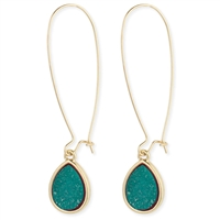 Zad Jewelry Teal Druzy Teardrop Drop Earrings