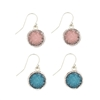 ZAD Jewelry Silver Round Druzy Drop Earrings