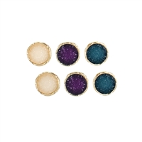 ZAD Jewelry Golden Round Drusy Stud Earrings