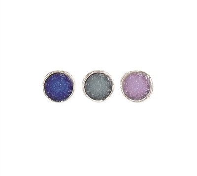 ZAD Jewelry Silver Round Druzy Stud Earrings