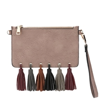 Melie Bianco Suri Vegan Leather Tassel Wristlet Crossbody