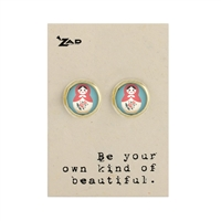 Zad Jewelry Matryoshka Doll Round Stud Earrings
