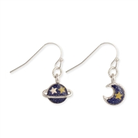 Zad  Celestial Moon & Plant Mismatch Drop Earrings