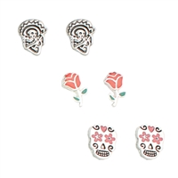 Zad Jewelry Day Of The Dead Set of 3 Rose Sugar Skull Stud Earrings