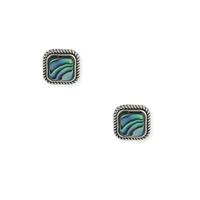 Paua Shell Square Stud Earrings Blue
