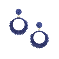 Rockin Raffia & Bead Circle Earrings Blue