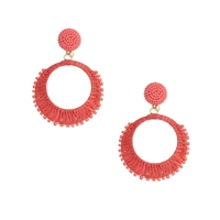 Rockin Raffia & Bead Circle Earrings Coral