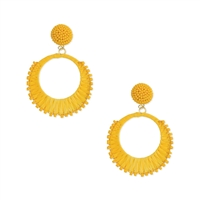 Rockin Raffia & Bead Circle Earrings Yellow