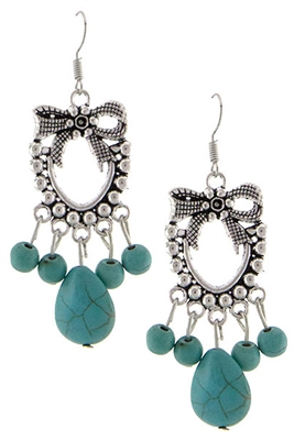 Bow & Turquoise Bead Drop Earrings