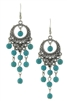 Filigree Turquoise Bead Drop Earrings