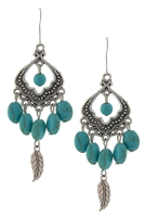Leaf & Turquoise Bead Drop Earrings