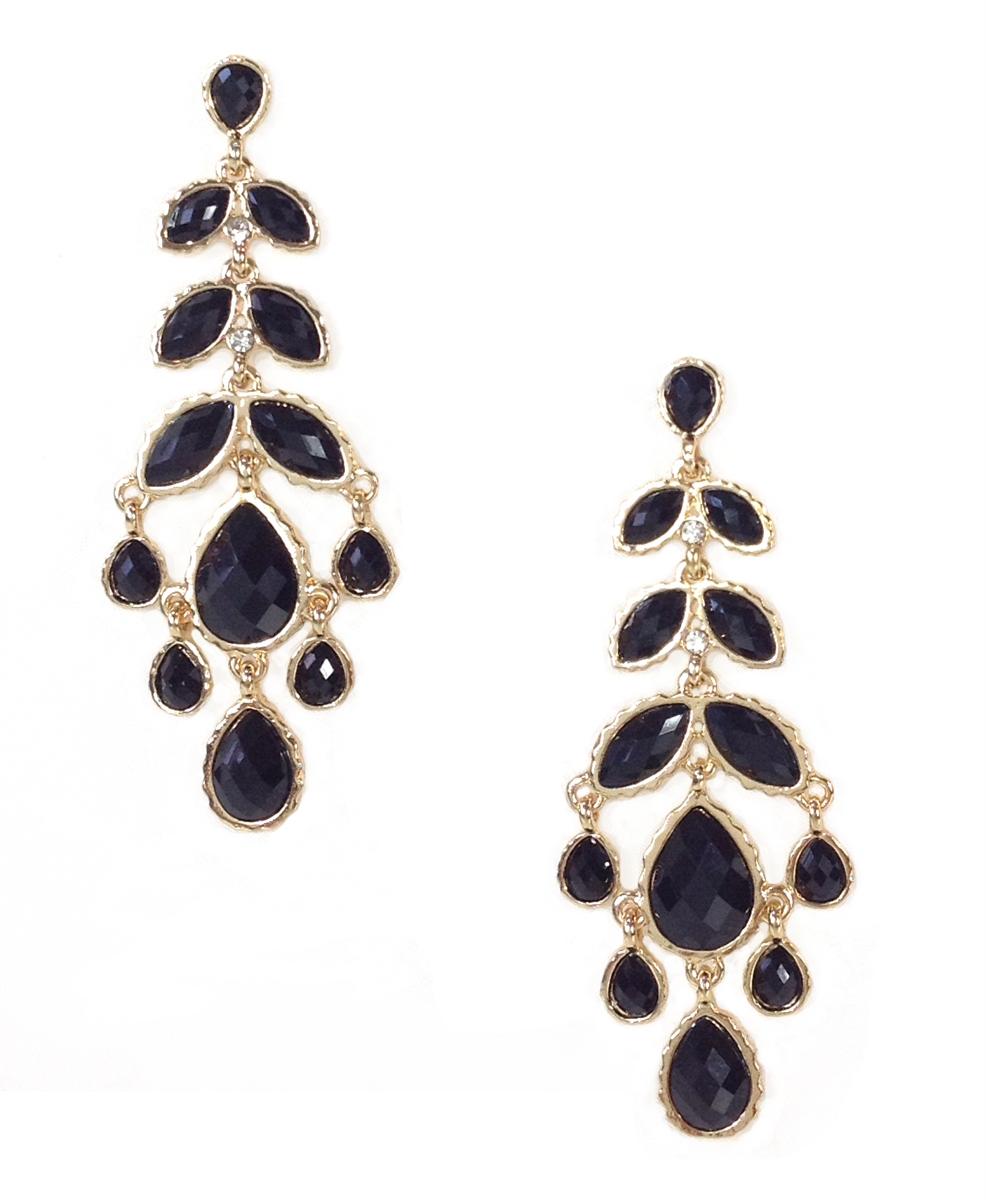 Amrita singh brenna long chandelier earrings jet black aloadofball Choice Image