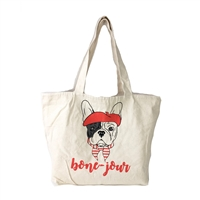 Frenchie French Bulldog 'Bone-Jour' Canvas Market Tote
