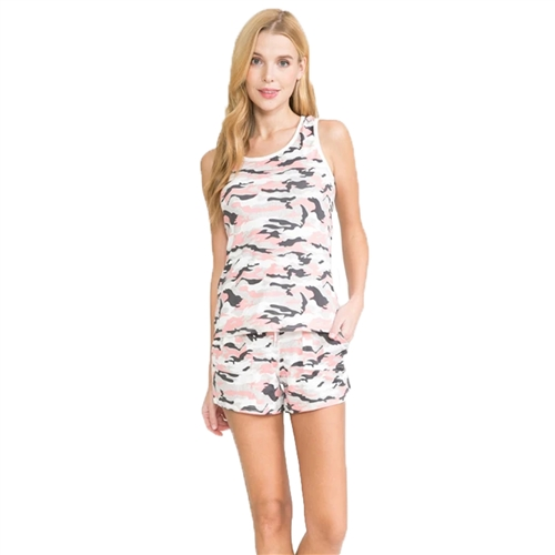 Camouflage Print Shorts and Racerback Tank Top Lounge
