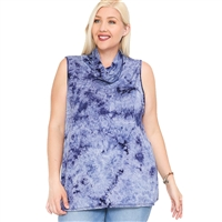 Tie Dye Convertible Cowl Neck Face Covering Tank Top