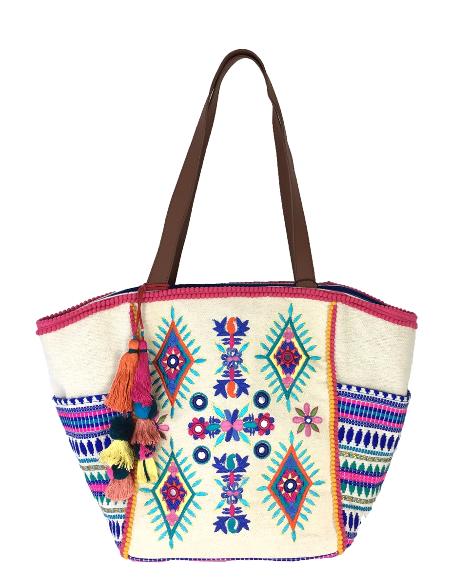 25fb1936e78 Steven By Steve Madden Eytal Colorfully Embroidered Tassel Tote, Pink Multi