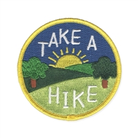 Zad Take A Hike Round Badge Embroidered Iron On Patch Applique