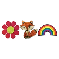 Flower, Fox & Rainbow Set of 3 Mini Stick On Patch