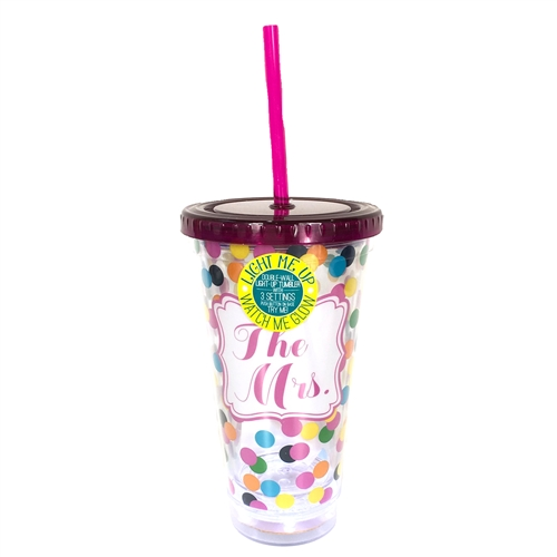 The Mrs. Light Up 17oz. Double Wall Travel Tumbler w Straw